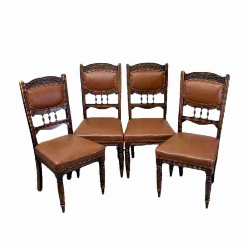Set of Four Late Victorian Antique Mahogany Leather Upholstered Dining  Chairs-Origin Antiques - Set Of Four Late Victorian Antique Mahogany Leather Upholstered