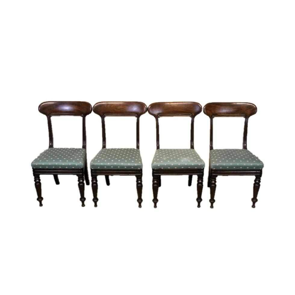 Set of Four Victorian Antique Mahogany Bar Back Dining Chairs-Origin Antiques