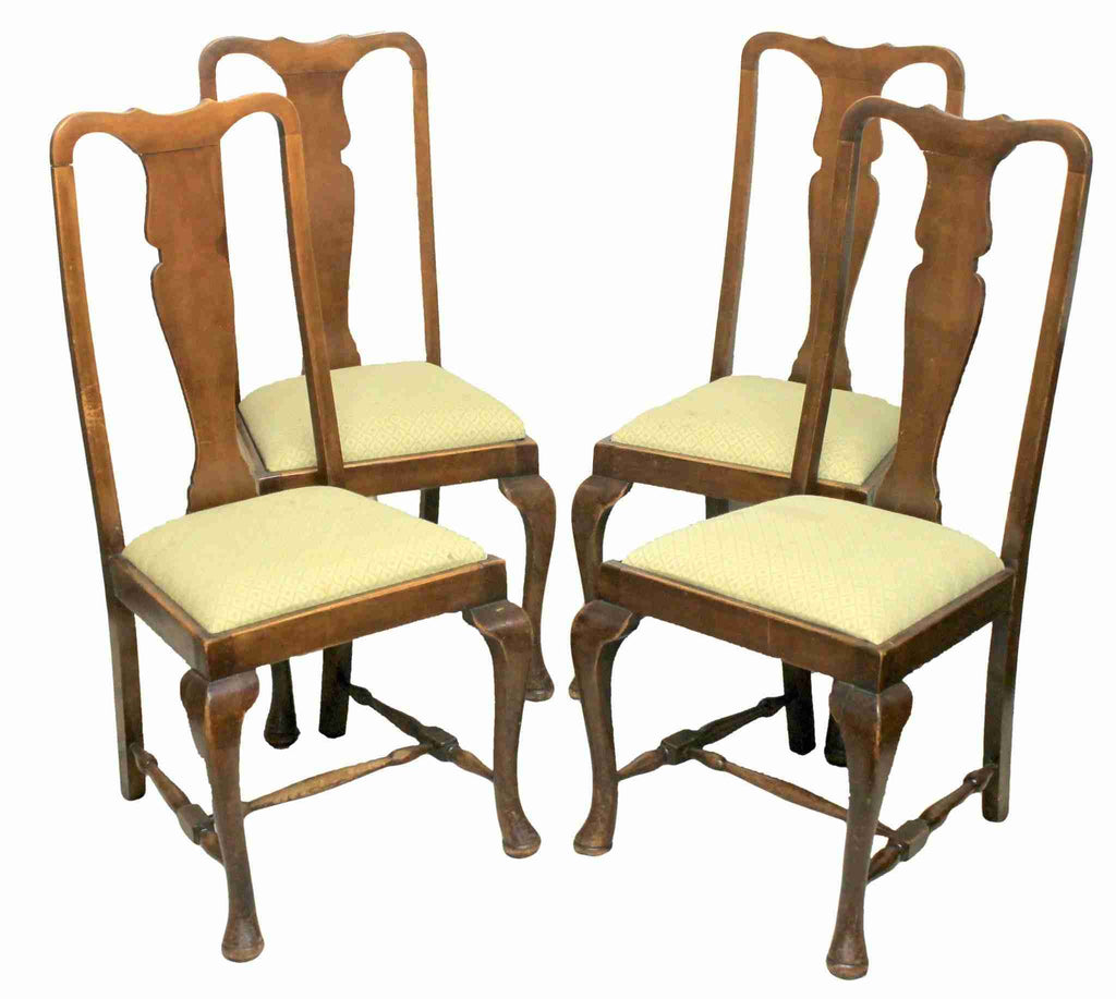 Set of Four Victorian Antique Queen Anne Style Fiddleback Dining Chairs-Origin Antiques