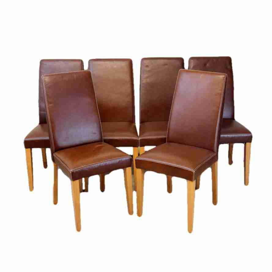 Set Of Six Contemporary Style Brown Leather Upholstered Dining Chairs Origin  Antiques