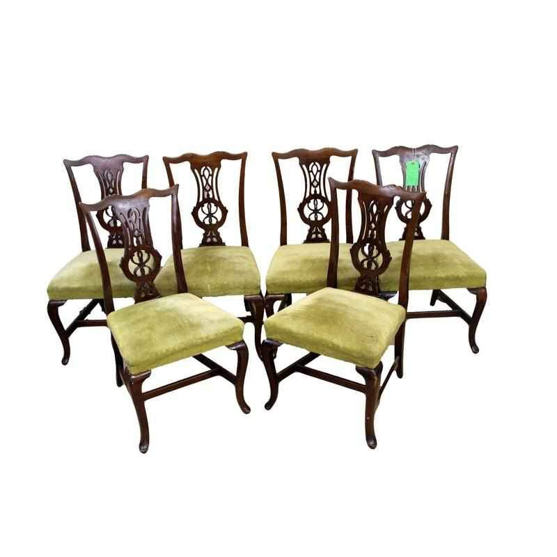 Set of Six Edwardian Antique Mahogany Dining Chairs-Origin Antiques