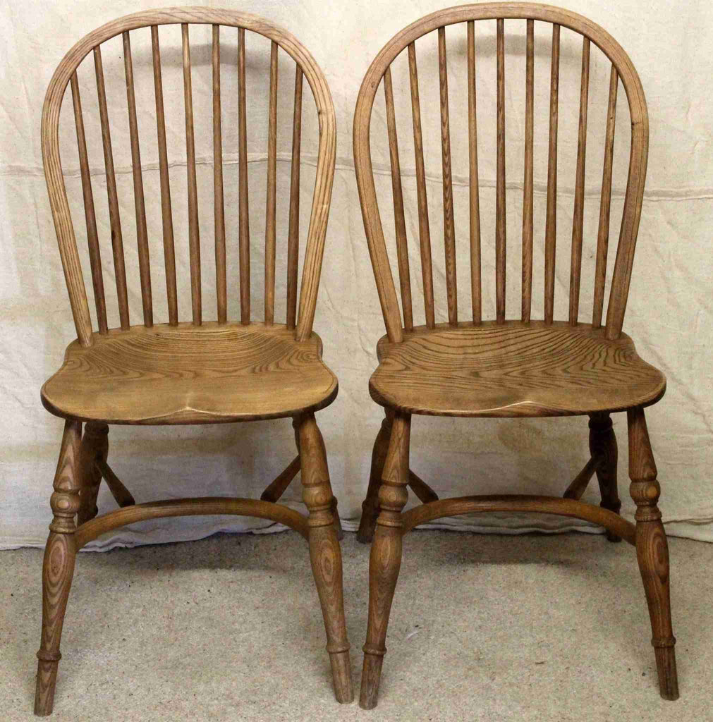 Set of Six Elm Spindle Back Dining Chairs-Origin Antiques