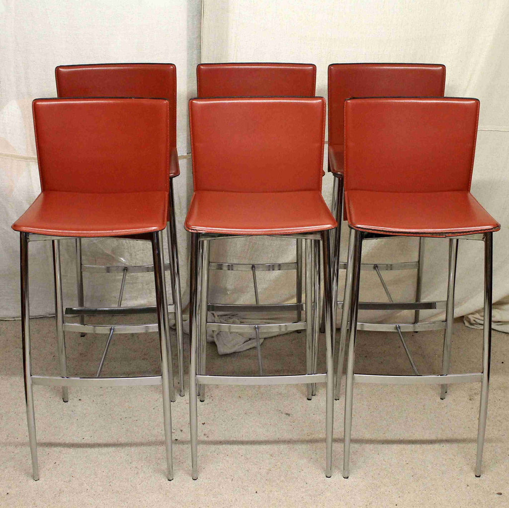 Set of Six Modern Chrome and Leather Bar Stools-Origin Antiques