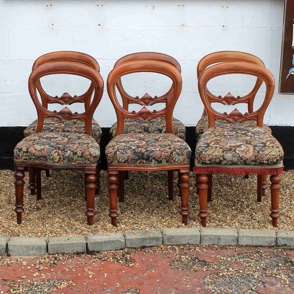 Set of Six Reproduction Antique Balloon Back Dining Chairs-Origin Antiques