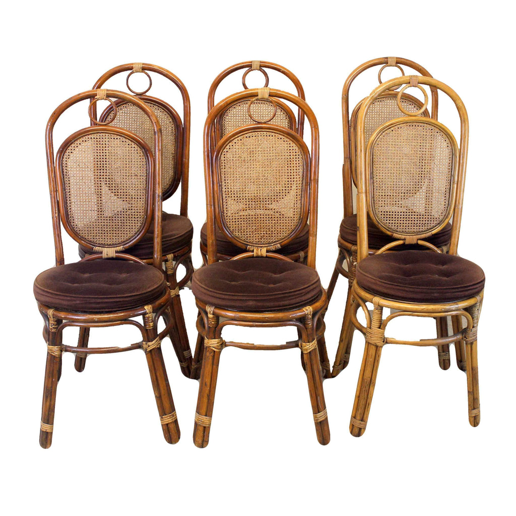 Set of Six Retro Vintage Style Cane Dining Chairs-Origin Antiques