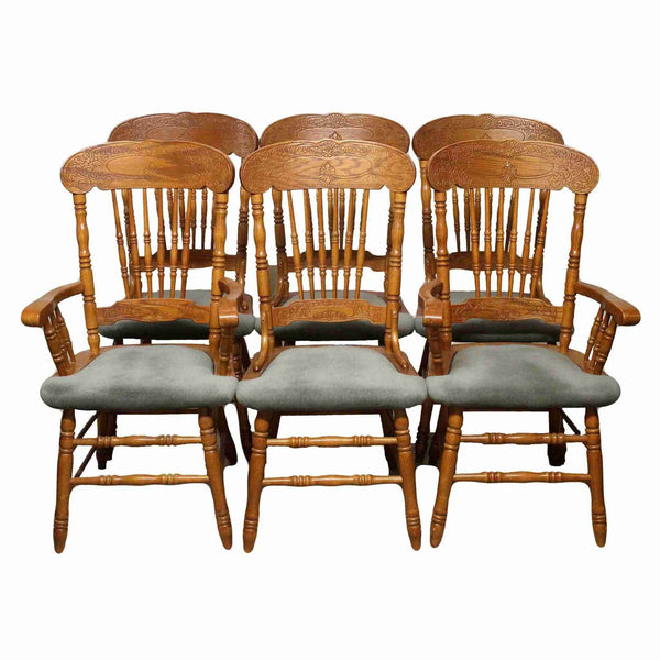 Set of Six Spindle Back Contemporary Dining Chairs-Origin Antiques