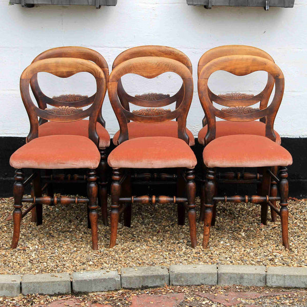 Set of Six Victorian Antique Mahogany Balloon Back Dining Chairs-Origin Antiques