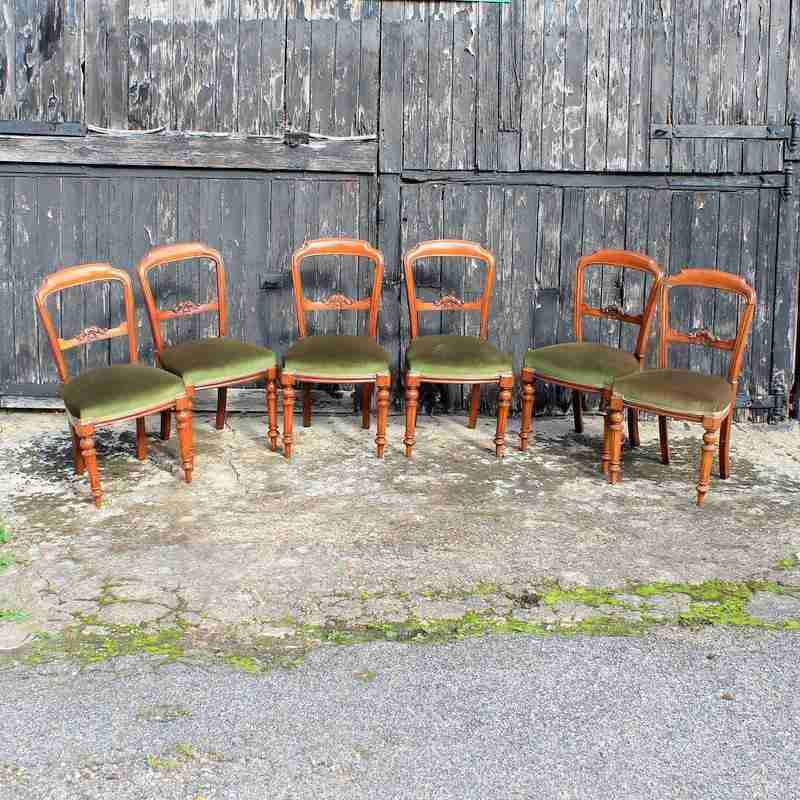 Set of Six Victorian Antique Mahogany Dining Chairs-Origin Antiques