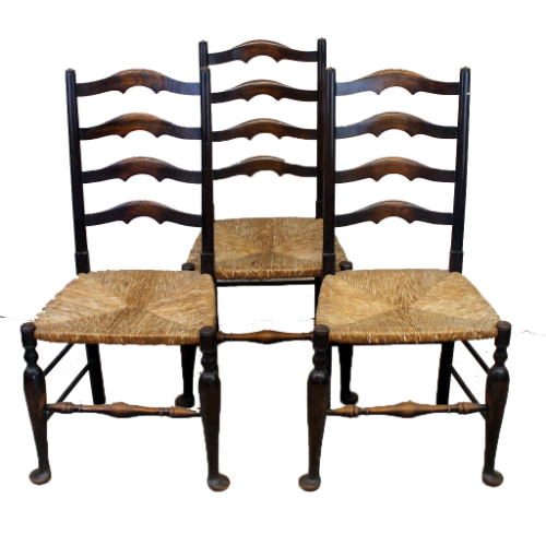 Set of Three Antique Oak Ladder Back Rush Seat Dining Chairs-Origin Antiques