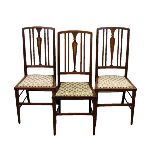 Set of Three Edwardian Antique Mahogany Rail Back Dining Chairs-Origin Antiques