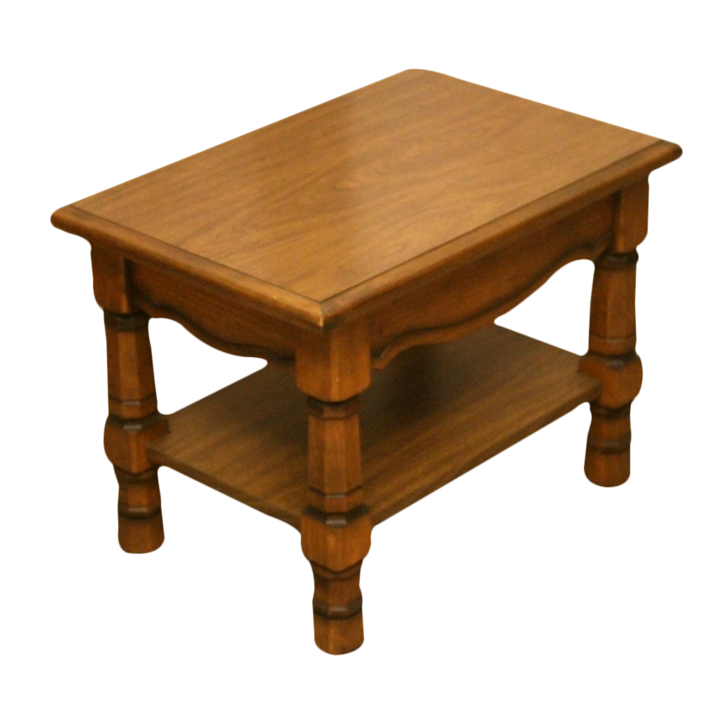 Small Oak Traditional Style Coffee Table with Shelf-Origin Antiques
