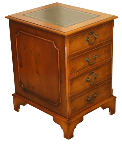 Traditional Style Yew Wood Two Drawer Office Filing Cabinet-Origin Antiques