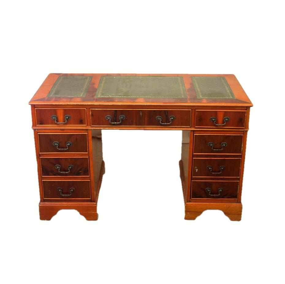 Twin Pedestal Desk with Tooled Green Leather Top-Origin Antiques