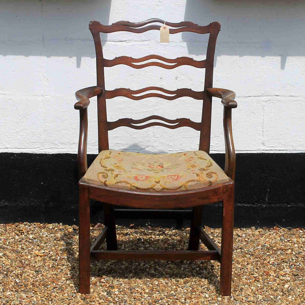 Victorian Antique Mahogany Ribbon Back Armchair-Origin Antiques