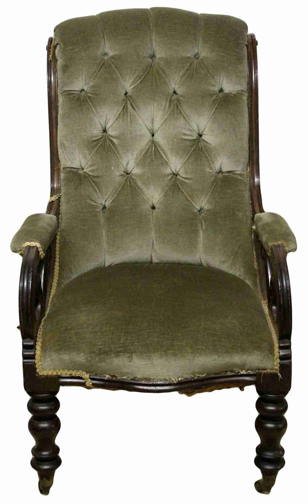 Victorian Antique Mahogany Upholstered Armchair-Origin Antiques
