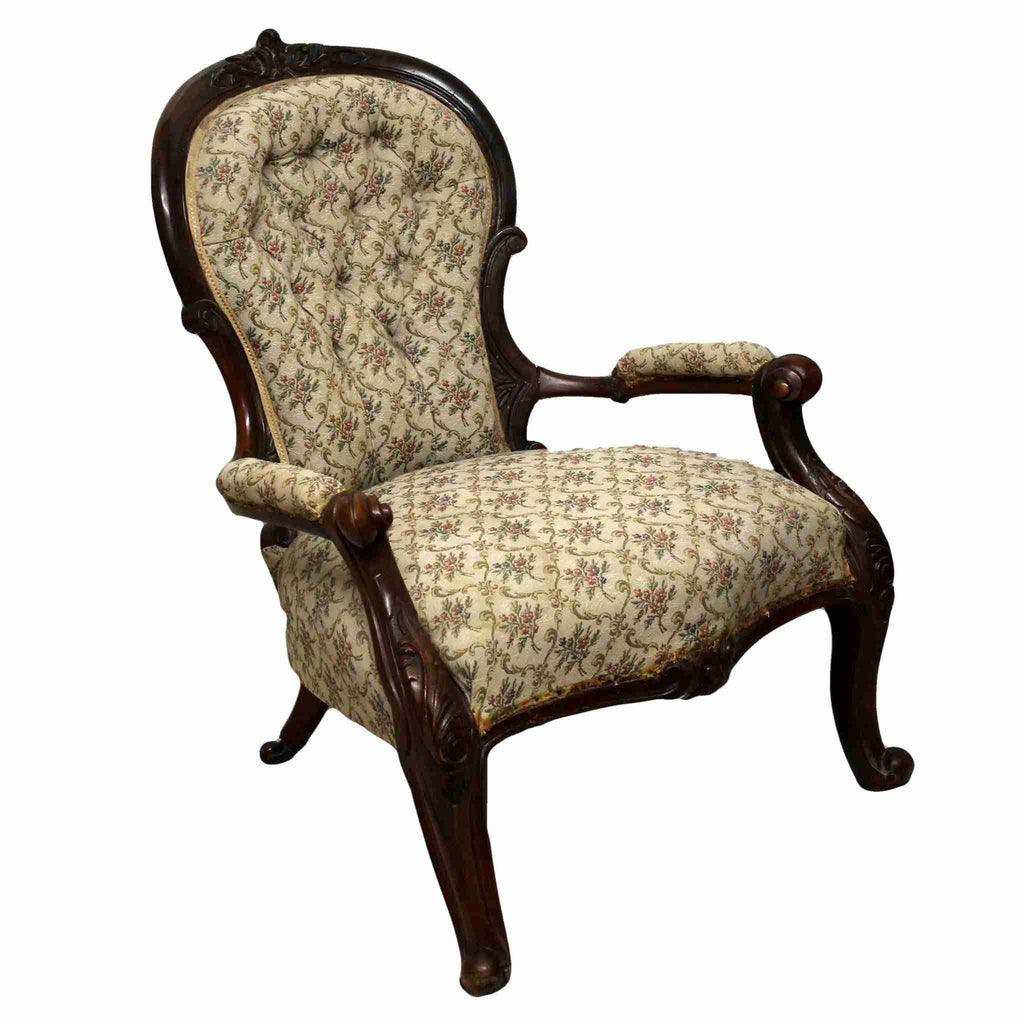 Victorian Antique Queen Anne Style Spoon Back Armchair-Origin Antiques