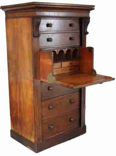 Victorian Antique Rosewood Wellington Secretaire Chest of Drawers-Origin Antiques
