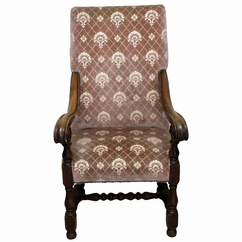 Victorian Antique Upholstered Carved Oak Armchair-Origin Antiques