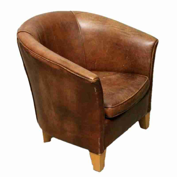 Vintage Brown Leather Tub Chair-Origin Antiques