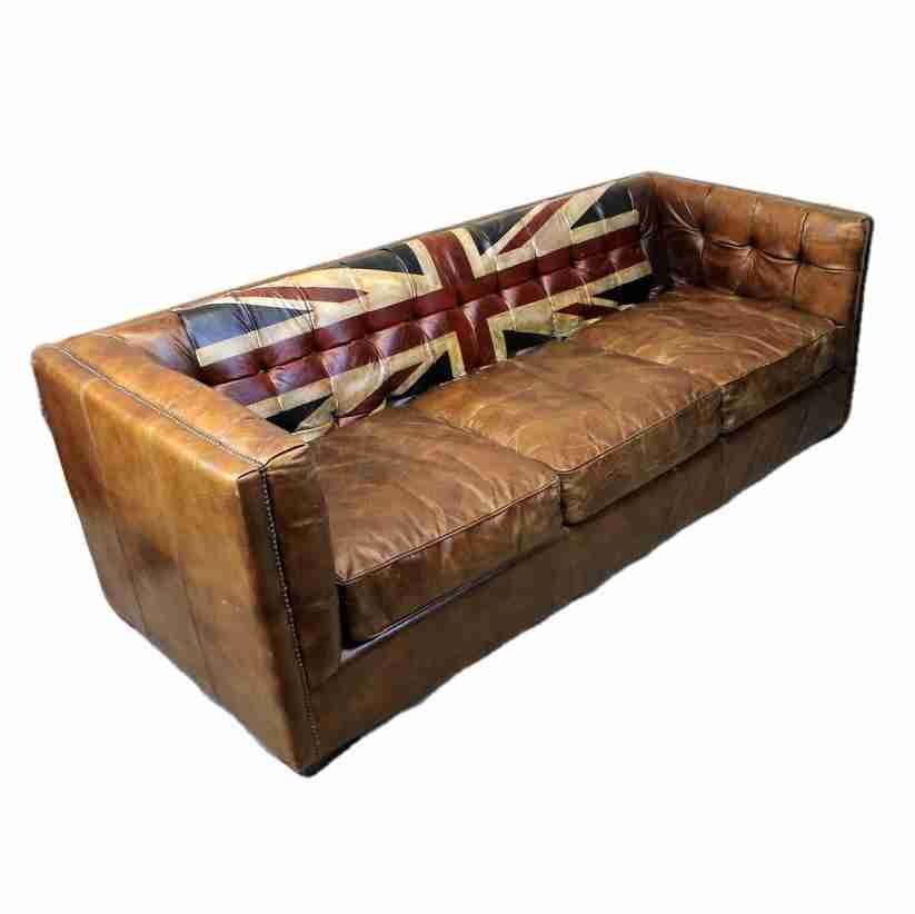 Vintage Brown Leather Union Jack Three Seater Sofa-Origin Antiques
