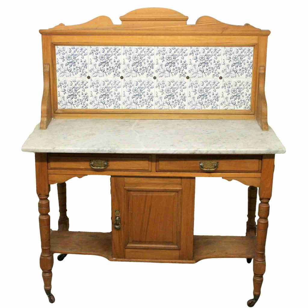 Vintage Wash Stand with Marble Top-Origin Antiques