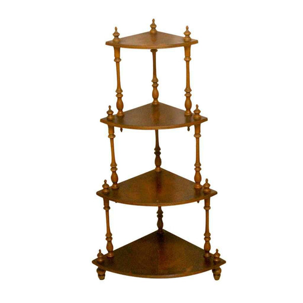 Vintage Yew Wood Waterfall Corner Display Stand with Four Tiers-Origin Antiques