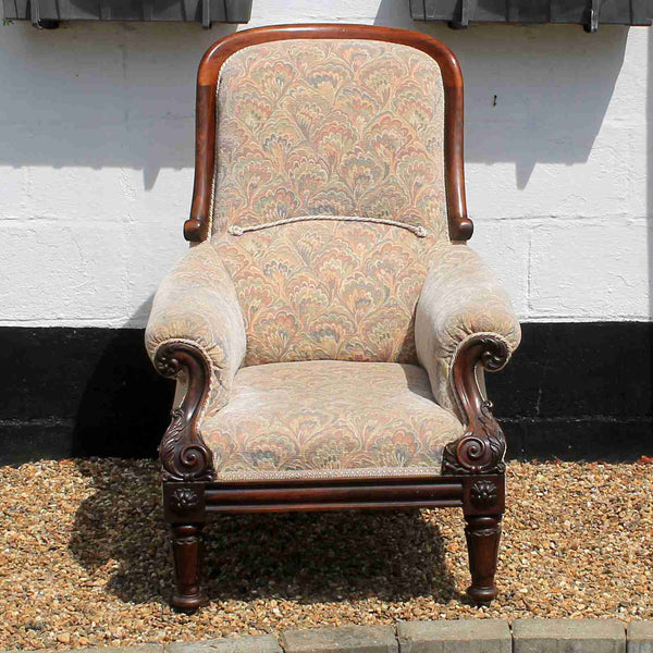 William III Rosewood Upholstered Spoon Back Armchair-Origin Antiques