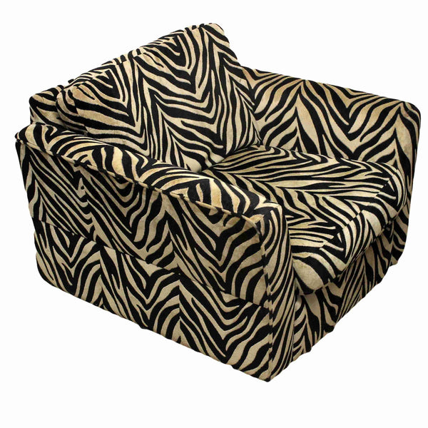 Zebra Stripe Upholstered Armchair-Origin Antiques