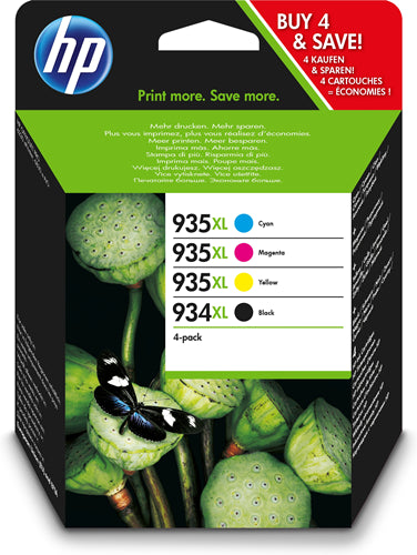 934XL High Yield Black/935XL Cyan/Magenta/Yellow 4-pack Original Ink Cartridges