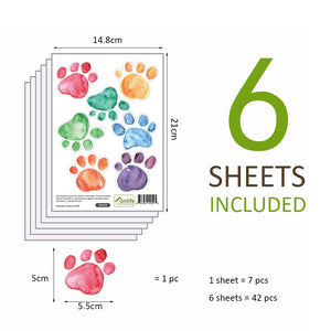 Dog Cat Pet Paw Print Removable Wall Stickers Wall Decal