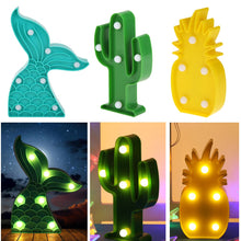 Load image into Gallery viewer, LED Cactus Pineapple Mermaid Tail Night Light Indoor Wall Lamp