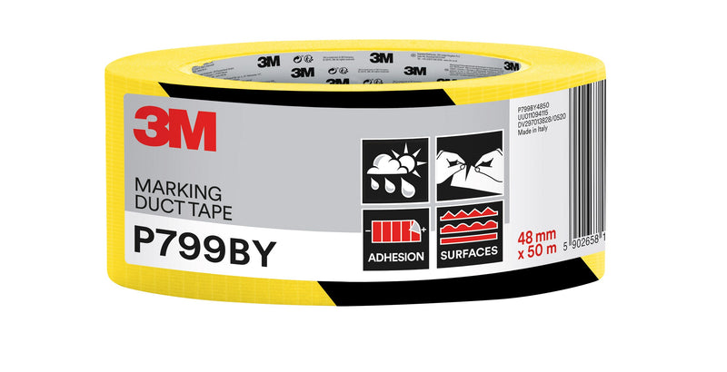 Fabric tape 48mmx50m black and yellow
