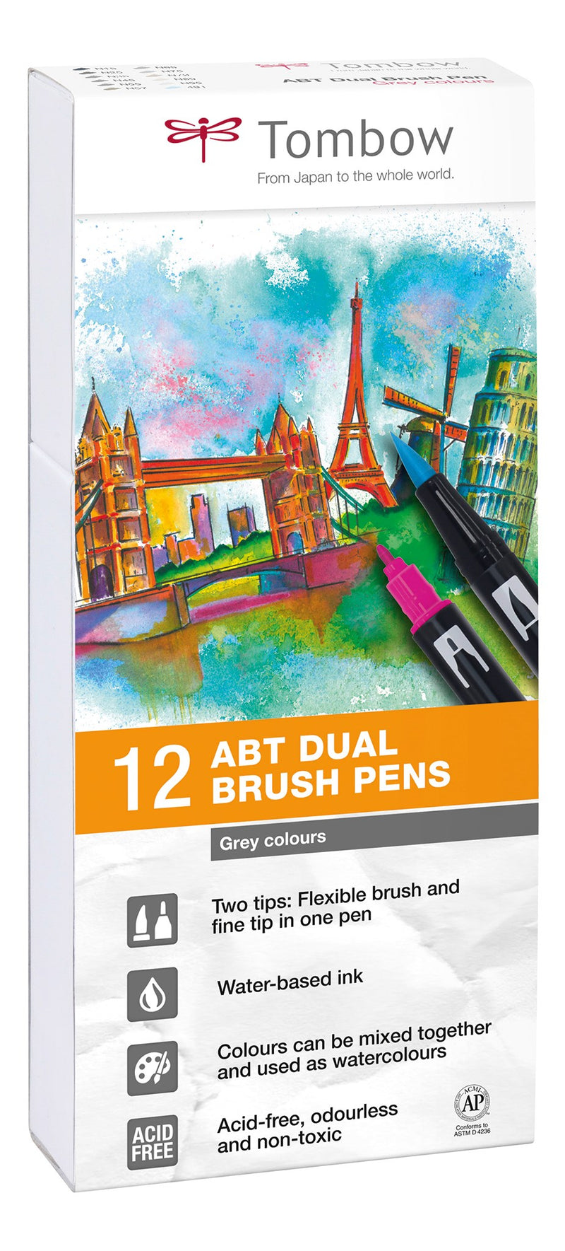 Tombow ABT Dual Brush 12P-3 Grey colours (12)