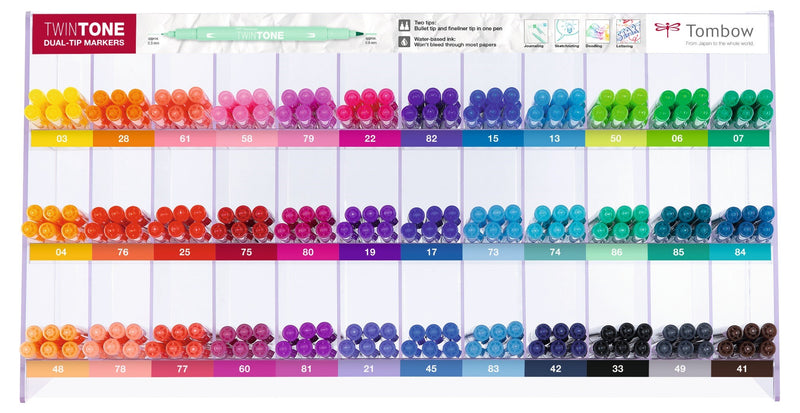 Marker Tombow TwinTone empty display for 216 pcs