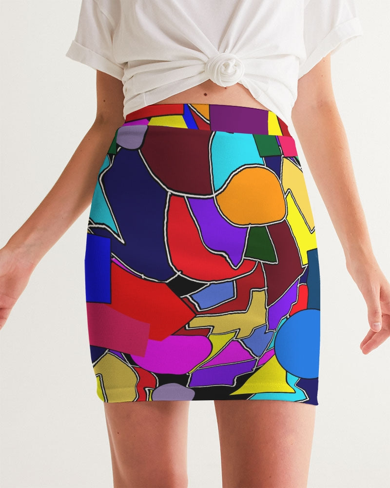 Crazy Color Abstract Women's Mini Skirt