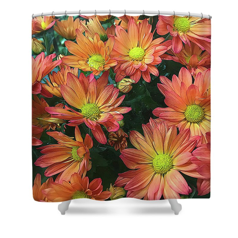 Cream and Pink Fall Flowers - Shower Curtain