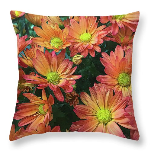 Cream and Pink Fall Flowers - Throw Pillow