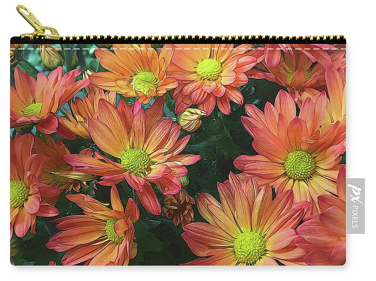 Cream and Pink Fall Flowers - Carry-All Pouch