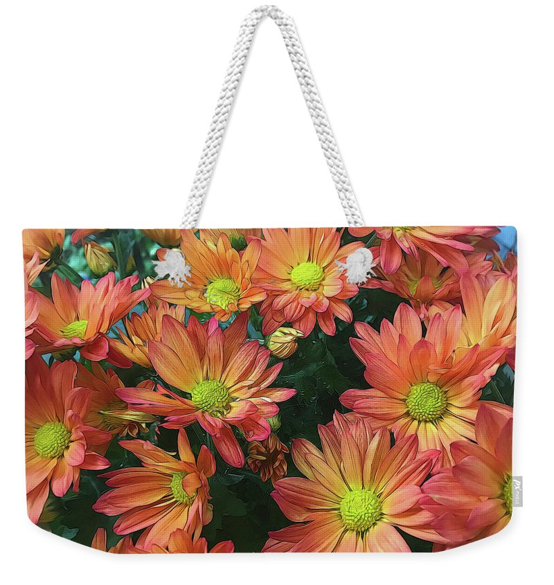 Cream and Pink Fall Flowers - Weekender Tote Bag