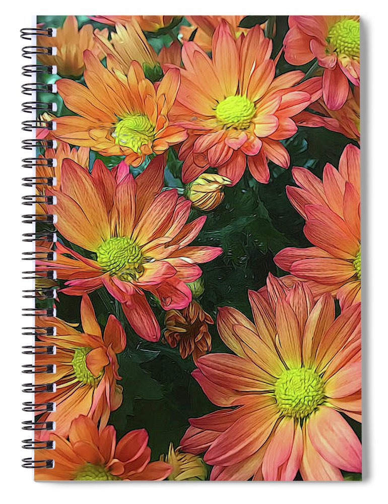 Cream and Pink Fall Flowers - Spiral Notebook