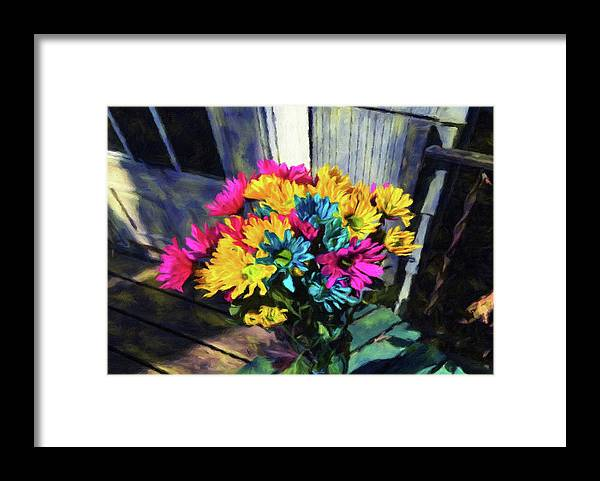 Flowers At The Door - Framed Print