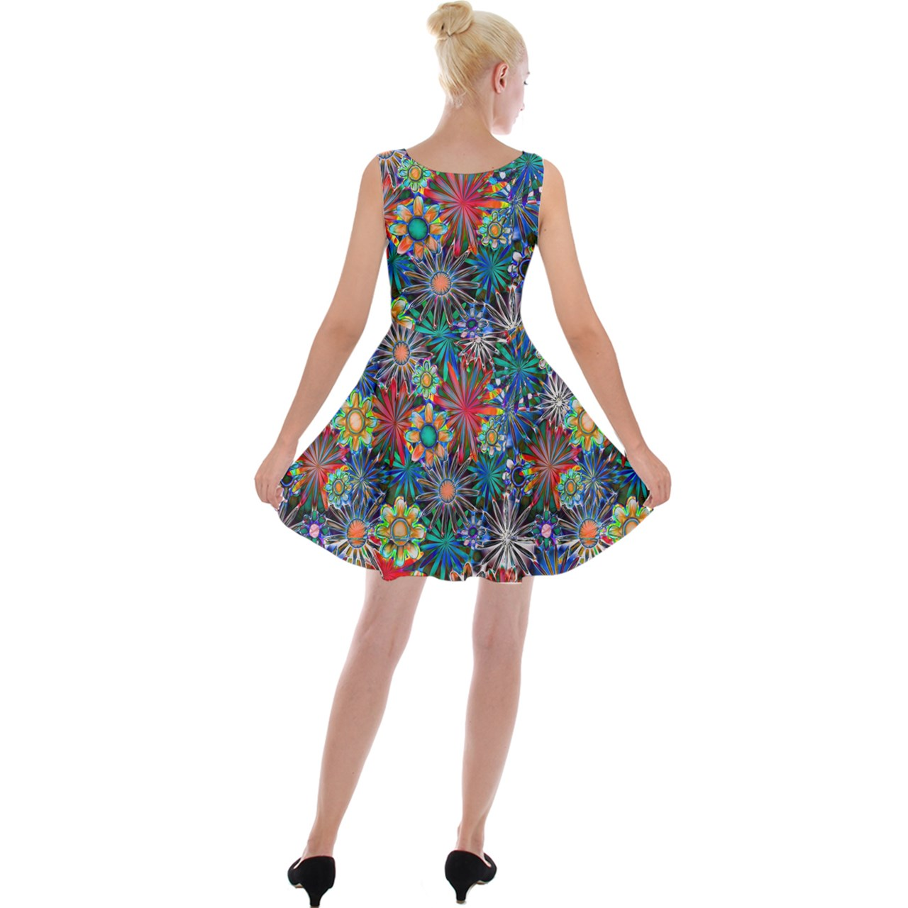 Daisy Garden Velvet Skater Dress