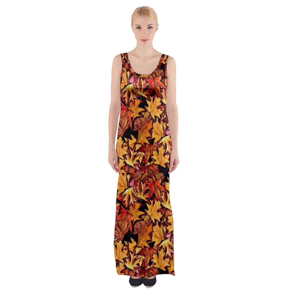 Fall Leaves Pattern Thigh Split Maxi Dress