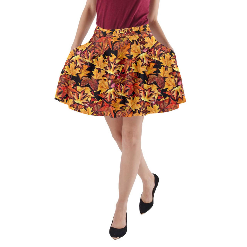 Fall Leaves Pattern A-Line Pocket Skirt