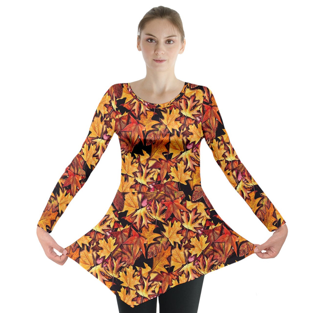 Fall Leaves Pattern Long Sleeve Tunic