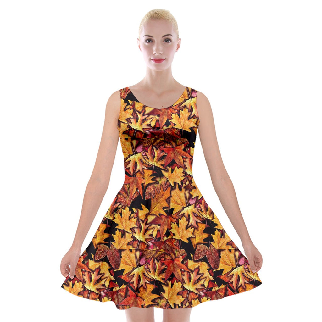 Fall Leaves Pattern Velvet Skater Dress