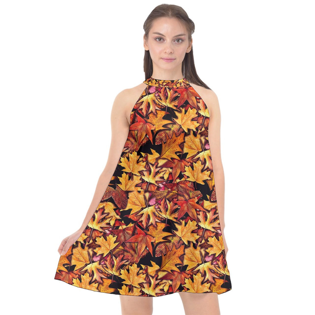 Fall Leaves Pattern Halter Neckline Chiffon Dress