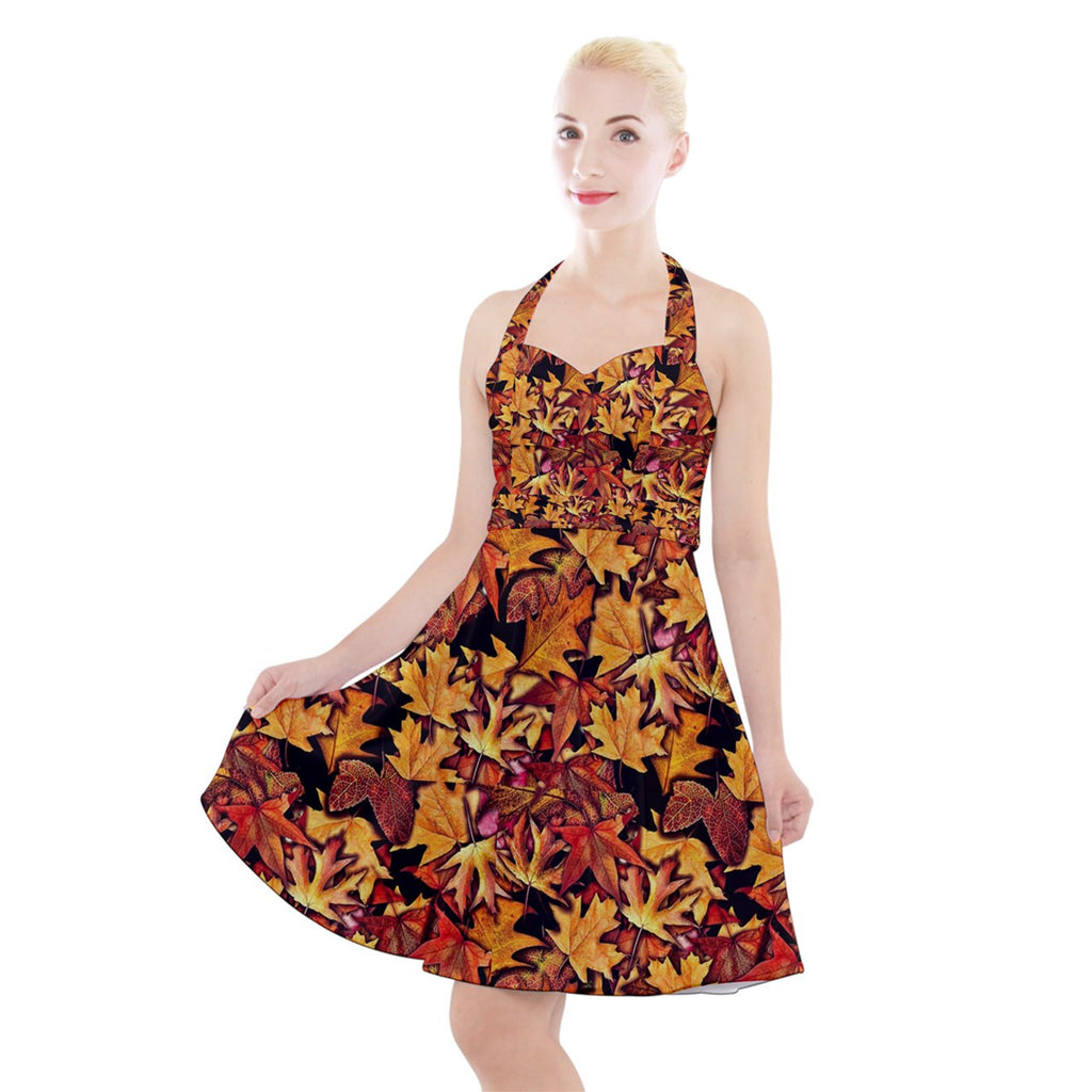 Fall Leaves Pattern Halter Party Swing Dress