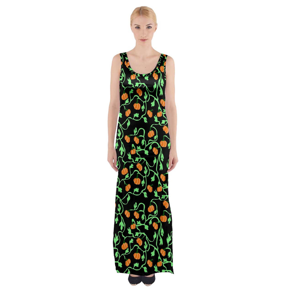 Pumpkin Vines Thigh Split Maxi Dress