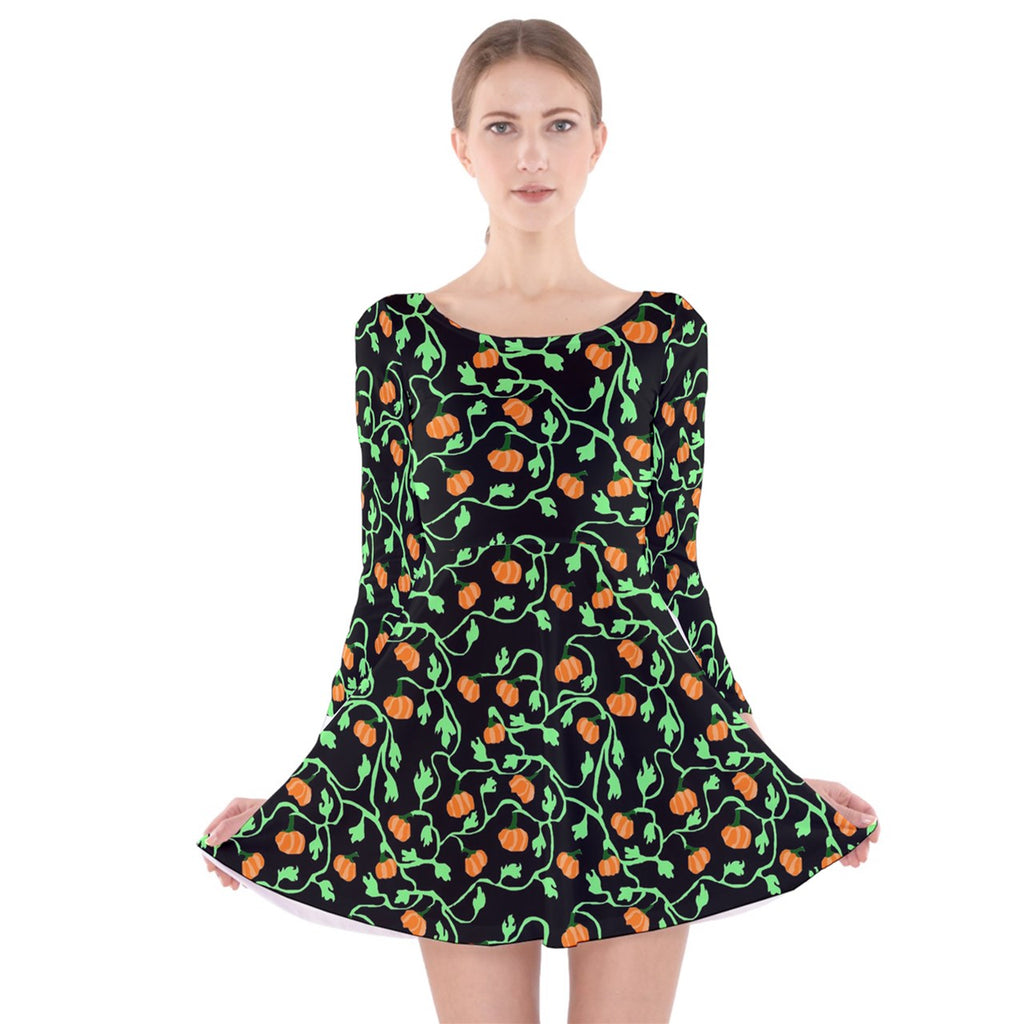 Pumpkin Vines Long Sleeve Velvet Skater Dress
